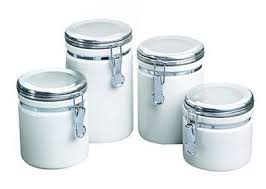 kitchen storage canister white ceramic canister set 4 airtight metal cl lid