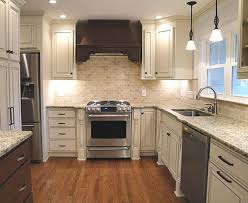 Antique Style Kitchen Cabinets Checkerboard Vinyl Tile Flooring Retro Colorful Backsplash Tiles