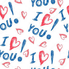 Design For Valentines Card Hand Drawing Illustration With Words Of Love And Hearts For Use In
