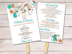 kraft wedding program fan template ceremony program mason jar