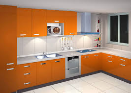 minimalist laminate kitchen cupboard in orange colour interior