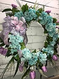 half off spring wreath featuring beautiful teal colored