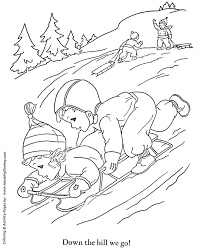 winter sledding coloring kids outdoor winter activities coloring