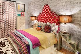 Unique Nightstand Ideas Bedrooms Eclectic Bedroom Idea With Colorful Bed Ans Red