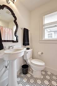 Pedestal Sink With Towel Bar Black And White Hex Floor Transitional Bathroom Avenue B