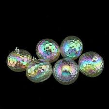 6ct clear iridescent shatterproof hammered disco