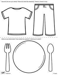 First Pages Clothes And Plate Coloring Page Crayola Com Plate Coloring Page