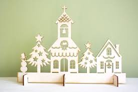 christmas church village scene laser cut rustic wood