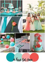 teal mint peach and coral tropical wedding color scheme