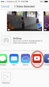 objective c how to share a video from my app to youtube and