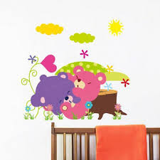 Jungle Wall Decals Baby Kids Room Cute Cartoon Jungle Animals Diy Removable Wall
