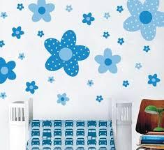 Bathroom Tiles Blue Colour Blue Colour Flower Wall Stickers Pastoral Style Removable Plastic