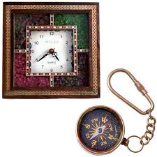 clock buy buy buy antique gemstone wooden wall clock n get compass keychain