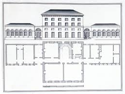 ground plan and elevation of a classical style building with