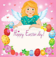 little angel in the sky easter greeting card fairy cartoon