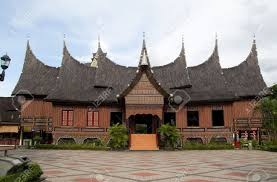 the traditional house of west sumatra indonesia stock photo