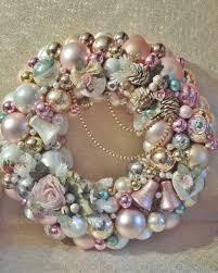 ornament wreath pink and aqua blue cottage chic