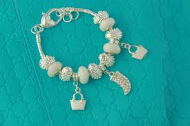 murano glass beads bracelet images Silver color crystal charm bracelets with white murano glass beads jpg