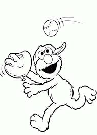 elmo playing catch coloring page netart