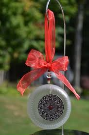 recycled glass ornament wine bottle bottom by whiteroostershoppe