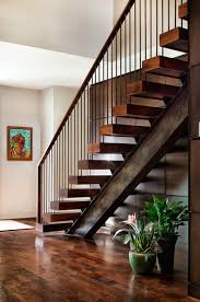 i beam and timber treads rustic industrial staircase well
