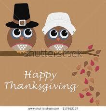 owl happy thanksgiving pilgrims stock illustration 117662137