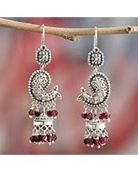 Garnet Chandelier Earrings Big Deal On Garnet Chandelier Earrings Paisley Peacock India