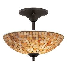 Carriage Lights Lowes by Shop Allen Roth 13 1 2 In St Pierre Mosaic Semi Flush Mount