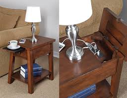 side table with power outlet device charging end table the green head