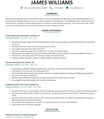Resume Samples With Summary by Preschool Teacher Resume Sample Resumelift Com
