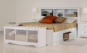 White Bed Frame With Storage Bedroom King Size Bed Frame With Bookcase Headboard Bookcase