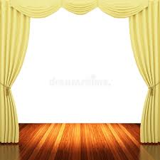 stage with yellow curtains and spotlight stock illustration