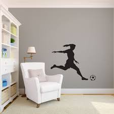 girl soccer player kicking silhouette sports wall decal zoom