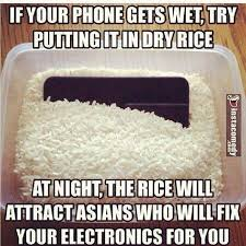 if your phone gets wet try putting it in dry rice at night the