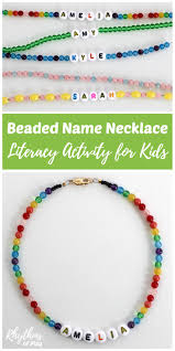 beaded name necklace literacy activity for kids rhythms of play