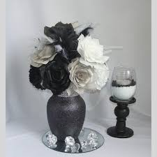 black and white floral arrangement black centerpiece black home