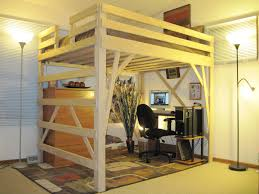 White Wood Loft Bed With Desk by White Stained Wooden Loft Bunk Bed Built In White Ladder And
