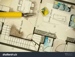 watercolor ink freehand sketch drawing apartment stock photo