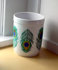 Kitchen Utensil Holder Ideas Design 9 Peacock Feather Detailed Weeding Utensil Holder