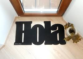 hola doormat hello in spanish welcome mat personalized
