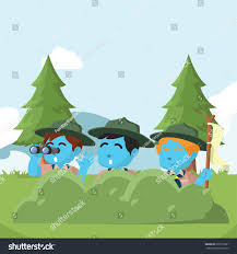 group boyscout hiding behind bushes stock vector 630115091