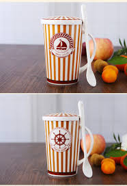 cute cup designs online shop 500ml real bone china tumbler with lid u0026 spoon cute