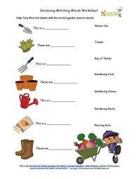 kids gardening tools matching activity sheet