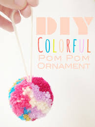 a lovely lark diy colorful yarn pom pom ornament