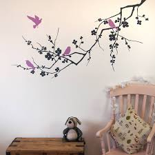 birds on branch wall stickers by parkins interiors dark grey and lilac facing left