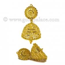 gold jhumka earrings gold jumka earrings 22 k goldpalace