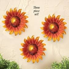 Solar Sunflower Wall Decor Set of 3 from Collections Etc