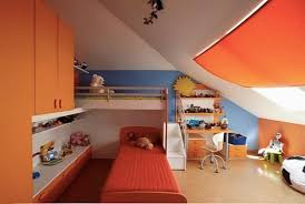 exciting attic room design with with orange cabinet plus double