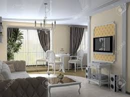 Modern Interior In Classic Style D Rendering Stock Photo - Classic modern interior design