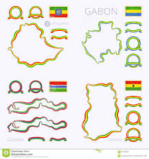 Gabon Map Colors Of Ethiopia Gabon Gambia And Ghana Stock Vector Image